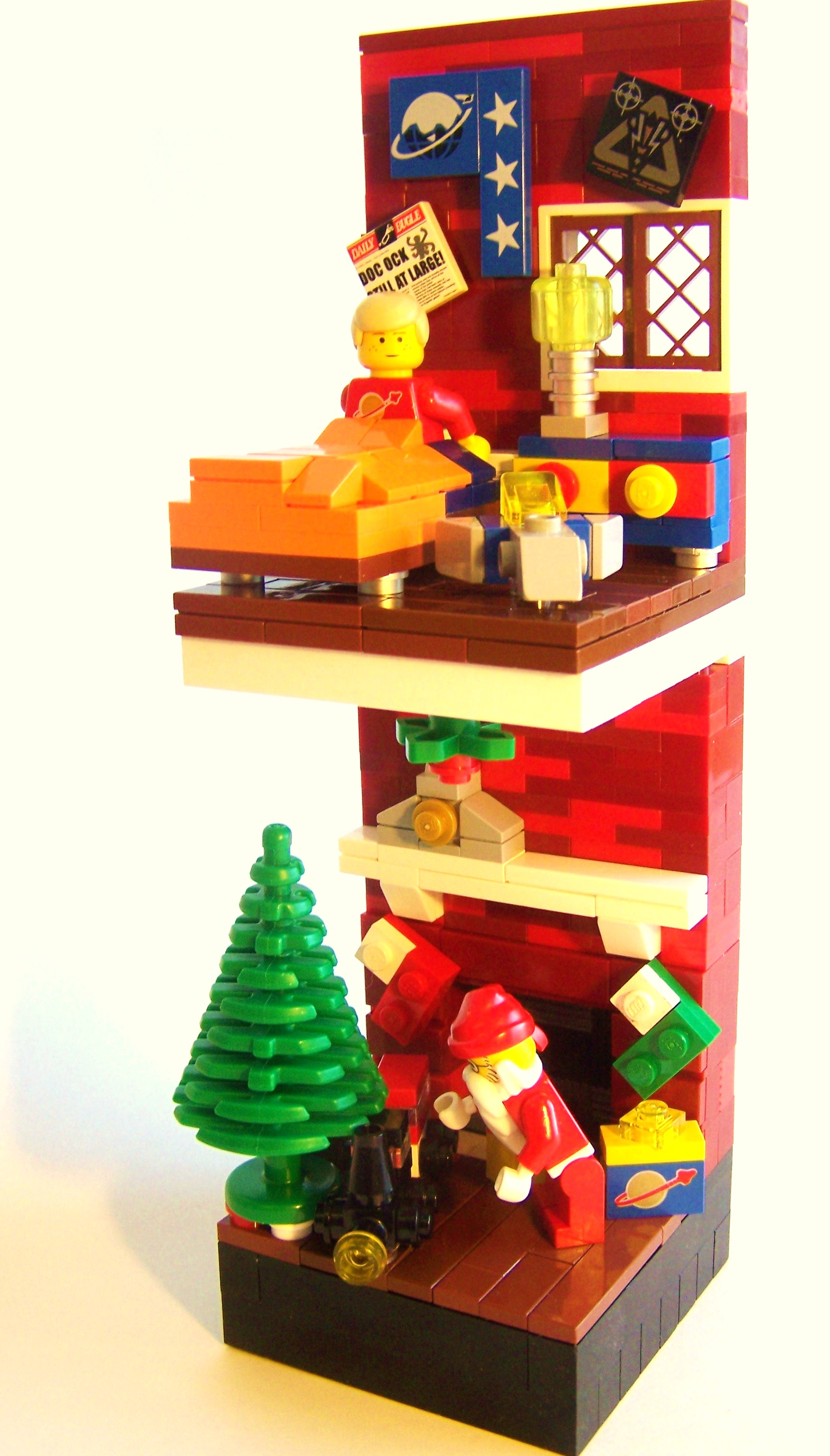 He Knows When You Are Sleeping Red LEGO Brick MOC by Dave Shaddix on Flickr